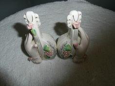 Vintage Porcelain Hand's Pink Roses White Ukulele S & P Shaker Set.