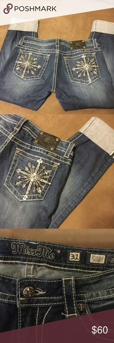 Miss Me jeans Miss Me skinny jeans.  Can wear cuffed or rolled down. Miss Me Jeans Skinny