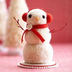 schneemann basteln ideen deko weihnachten baumwolle effektvoll