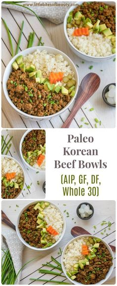 Eating Diet Whole 30 Korean Beef Cauliflower Rice Bowls (Paleo, AIP, Whole - Little Bites of Beauty Sin Gluten, Gluten Free, Dairy Free, Home Recipes, Paleo Recipes, Paleo Food, Paleo Meals, Cooking Recipes, Cooking Tips