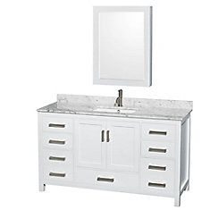 Sheffield 60-inch W Vanity in White Finish with Marble Top and Medicine Cabinet