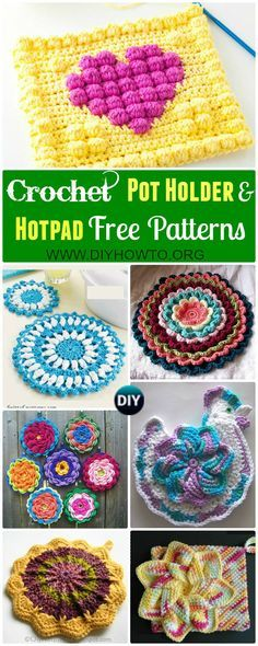 Collections of crochet pot holders and hotpads free patterns, square, circle, flower and animal. via @diyhowto