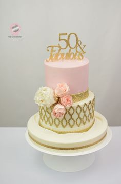 Pink And Gold 50th Birthday Cake