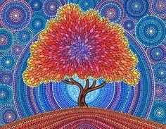 'Lotus Rainbow Mandala' Art Print by Elspeth McLean Aboriginal Dot Painting, Art Painting, Dots Art, Dot Art Painting, Tree Art, Painting, Mandala Stones, Blossoms Art, Elspeth Mclean