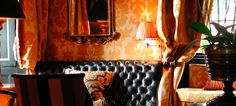 Walling in Veronese silk in Old Gold Gold at the Prestonfield Hotel in Edinburgh