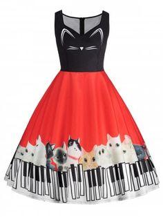 Plus Size Cat Piano Keyboard Printed Sleeveless Dress