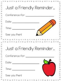 FLASH FREEBIE! Send home to remind parents when they are scheduled for conferences.