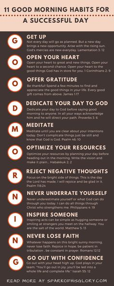 11 Good Morning habits for a successful day. A new day is a beautiful gift from God, we must use it well. From the letters of the word 'Good morning', learn 11 habits that will help guarantee a successful day.