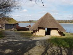 Viking boatyard and house, Irish National Heritage Park, County Wexford, Ireland.  This is a reconstruction of a Viking settlement with shipbuilding yard from the 9th to 10th Centuries C.E.