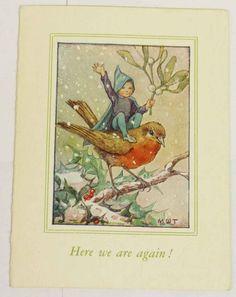 cute vintage robin christmas card