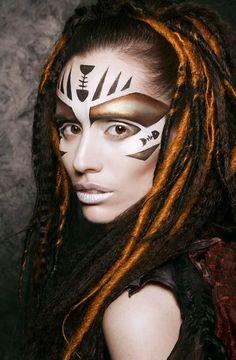 Fish bones make up Maquillage Halloween, Halloween Makeup, Tribal Face Paints, Tribal Makeup, Fantasy Make Up, Make Up Art, War Paint, Costume Makeup, Face Art