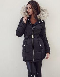 cab02d27dcd Michelle Keegan Reversible Faux Fur Trim Puffer Coat Michelle Keegan, Coat,  Fur Trim,