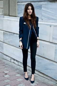 simple and preppy #streetstyle #fashion
