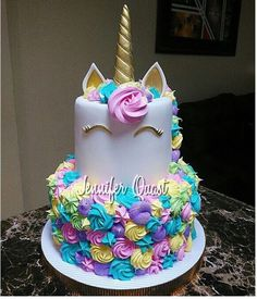 2 Layer Unicorn Cake Lori In 2019 Unicorn Birthday Birthday