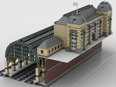 Gare Lego, Lego Train Station, Ho Train Sets, Lego Trains, Lego Modular, Central Station, Lego Projects, Lego City, Legos