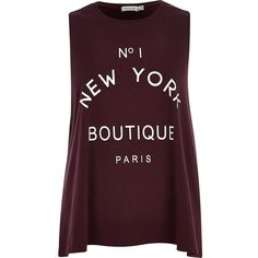 River Island Red No 1 New York Boutique Paris tank top and other apparel, accessories and trends. Browse and shop 21 related looks.