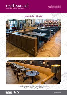#halfdiamondback #plainback #banquette #seating #craftwood #jamiesitalian #adelaide