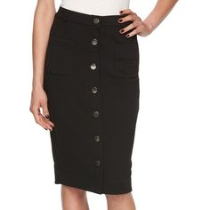 Women's Elle™ Button-Front Pencil Skirt ($33) ❤ liked on Polyvore featuring skirts, black, pencil skirt, knee length pencil skirt, button front skirt and pocket skirt