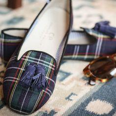 Charles Philip Scottish Plaid Tassel Smoking Slippers