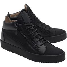 GIUSEPPE ZANOTTI May London Snap Nero // Leather sneakers with zipper... ($600) ❤ liked on Polyvore featuring men's fashion, men's shoes, men's sneakers, giuseppe zanotti mens sneakers, mens black sneakers, mens leather sneakers, mens leather shoes and mens black shoes