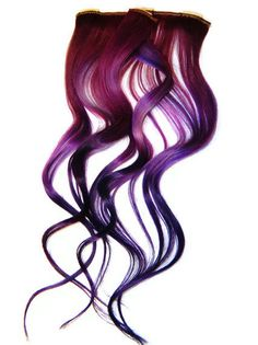 Purple Galaxy 14 inch Ombre Hair Extensions, Clip in Hair Extensions, Human Hair Extensions. $20.00, via Etsy.