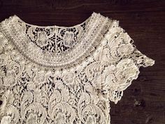 Boho Style Embellished Crochet Lace Crop Top/ One by ProsperityKid