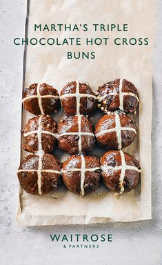 Martha Collison's triple chocolate hot cross buns are a rich, indulgent Easter bake. Serve while still warm with butter. Tap to see the full Waitrose & Partners recipe. Easter Hot Cross Buns, Easter Bun, Easter Food, Baking Recipes, Cake Recipes, Dessert Recipes, Bread Recipes, Desserts, Easter Recipes