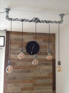 Vintage Lamp steigerbuis en ledlampen met een schakelaar om te wisselen tussen 5 of 3 lampen aan