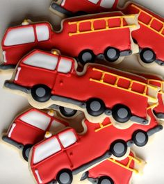 Firetruck Fire Engine Sugar Cookies by NotBettyCookies on Etsy, $38.00