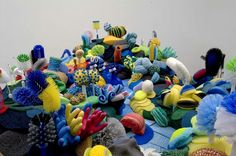 Los Angeles-based artist Lynn Aldrich uses sponges, scurbbers, scouring pads, mop heads and brushes to create coral reef sculptures