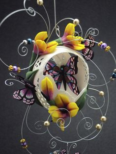 More time with butterflies- Chicken egg design by Laura J Schiller