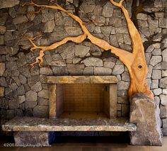 Beautiful... if I can find a way to do this over the existing brick I  would be one happy girl... make the tree out of wood instead of sandstone/slate.