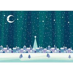 無料イラスト冬「クリスマスの夜の町」