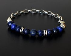 Mens Bracelets Mens Necklaces Mens Jewelry by MayliMen on Etsy Black Bracelets, Bracelets For Men, Beaded Bracelets, Mens Silver Necklace, Men Necklace, Men's Accessories, Lava Bracelet, Bracelet Men, Silver Chain For Men