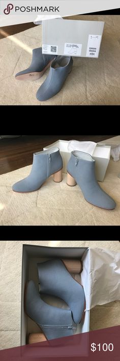BRAND NEW COS CANVAS BOOTS Brand new COS Canvas boots in light blue! Love the detailed heels COS Shoes Ankle Boots & Booties