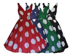 WOMENS RETRO VINTAGE 50's COTTON BIG POLKA DOT FLARED SWING DRESS NEW 8 - 20 | eBay