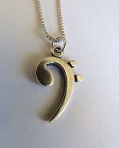 Sterling Silver Bass Clef Necklace by MorganFischerJewelry on Etsy, $45.00