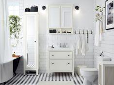 HEMNES High cabinet with mirror door - white - IKEA/bathroom storage Ikea Bathroom, Budget Bathroom, Bathroom Renos, White Bathroom, Bathroom Furniture, Bathroom Storage, Bathroom Ideas, Peach Bathroom, Very Small Bathroom