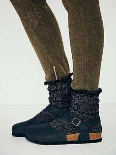 Messina Birkenstock blue suede with blue multi colored wool sock for fall or winter