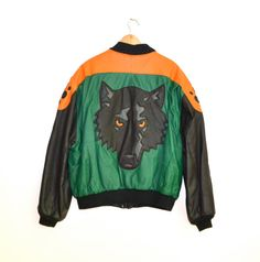 80s Wolf Leather Jacket by Michael Hoban North by Hookedonhoney