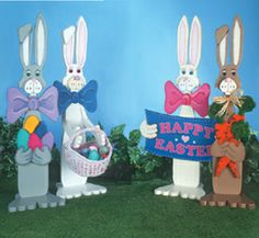Easter Bunnies Woodcraft Pattern This pattern set has four different bunny designs: bunny holding an Easter sign, bunny with carrots, bunny with a basket of eggs and one with a handful of eggs. Winfield Collection, Wood Craft Patterns, Easter Colors, Easter Crafts, Easter Decor, Color Posters, Deco Mesh Wreaths, Woodworking Crafts, Easter Bunny