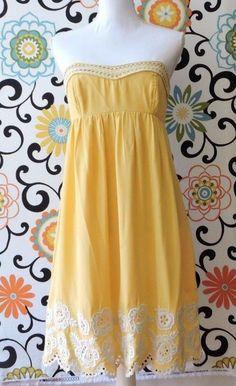 Shoshanna Women Yellow White Embroidered 100% Silk Strapless Dress Size 6 #Shoshanna #Cocktail