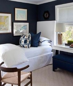 Navy and white done right. Our Kandira ikat adds a graphic touch to this bedroom. What's your favori - Bedroom Inspirations, Bedroom Design, Guest Bedrooms, White Guest Bedroom, Bedroom Decor, Home Decor, Navy Blue Bedrooms, Blue Bedroom Design, Room