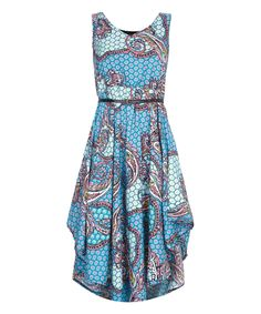 Blue & Pink Paisley Asymmetric-Hem Dress by Mela London London Blue, Out Of Style, Hemline, Going Out, Paisley, That Look, Fashion Jewelry, Summer Dresses, Fabric