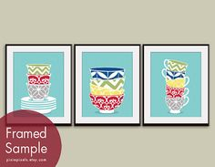 Modern Pattern Stacked Bowls and Cups  Set of 3 by pixiepixels, $47.85