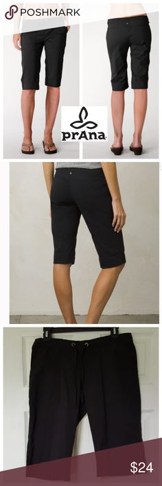 PrAna Knickers Super flexible knickers (some may call them bermuda shorts) made of 94% nylon, 6% spandex. Great for playing sports or just traveling. Inseam 14 inches. Waist is 15 inches when laid flat with a lot of stretch. Also has a drawstring at waist. Pull on style. Quick drying. 2-way stretch. Comfortable and light. Prana Shorts Bermudas