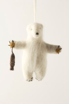 Felted Polar Bear Ornament from Anthropologie. LOVE all their ornaments.