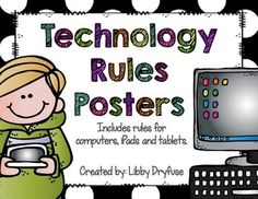 Technology Rules Posters Elementary Computer Lab, Computer Teacher, Ipad Rules, Classroom Rules, Classroom Ideas, Anchor Charts, Animal Drawings, Technology, Dry Hands