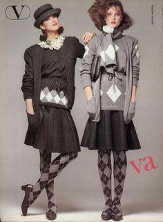 Argyle valentino fall/winter 1980 80 шик e 80s And 90s Fashion, Retro Fashion, Vintage Fashion, Pringle Of Scotland, Rachel Berry, Fashion Photo, Fashion Models, Fashion Looks, Tilda Swinton