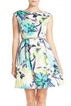 Image of Eliza J Belted Faille Fit & Flare Dress